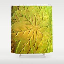 Green Gloss Leafs Shower Curtain