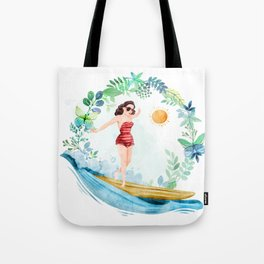 Riding with my surfboard.... Surfboard, surfboard Tote Bag