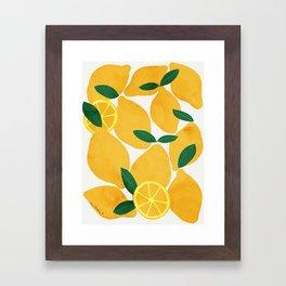 lemon mediterranean still life Framed Art Print