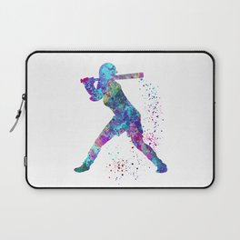 Girl Baseball Player Softball Batter Colorful Watercolor Blue Art Laptop Sleeve