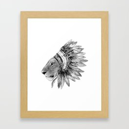 The Feminist - Chief Lioness - black and white Framed Art Print