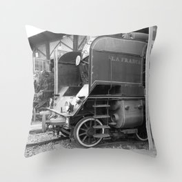 Old steam locomotive in the depot ZUG001CBx Le France black and white fine art photography by Ksavera Throw Pillow