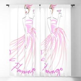 Pink Flamingo Cocktail Fashion Illustration Blackout Curtain