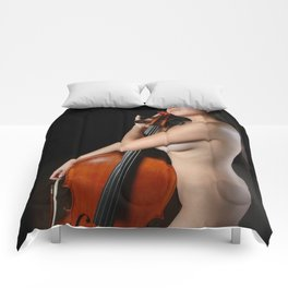 0205-JC Nude Cellist with Her Cello and Bow Naked Young Woman Musician Art Sexy Erotic Sweet Sensual Comforters