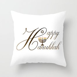 Happy Hanukkah- Jewish holiday celebration with star of David Throw Pillow