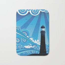 Blue stylized sea with big waves and lighthouse Bath Mat