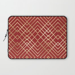 Modern Chinese Red Art Deco Geometric Pattern Laptop Sleeve