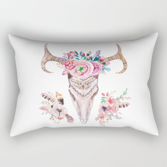 Deer skull with feathers and flowers Rectangular Pillow