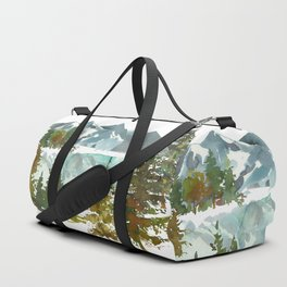 Forest green teal blue watercolor hand painted landscape Duffle Bag