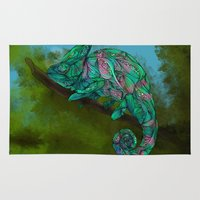 chameleon Area & Throw Rugs featuring Chameleon by Ben Geiger