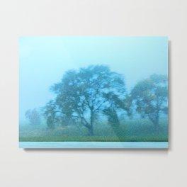 Foggy Tree Sparkles Metal Print