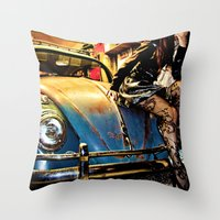 volkswagon Throw Pillows featuring Bug Life by sysneye
