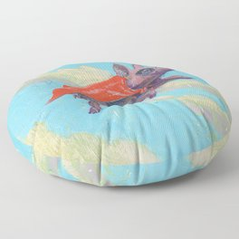 flying pig - by phil art guy Floor Pillow
