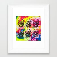 ultraviolence Framed Art Prints featuring Ultraviolence 4i skull - mixed media on canvas by kakin