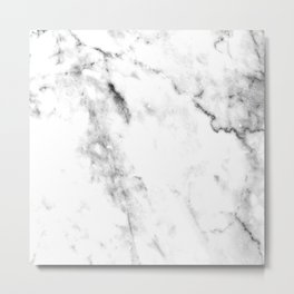 Gentle Marble Collection: Soft Ebony White With Ashen Veins Metal Print