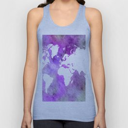 Design 61 World Map Purple Unisex Tank Top