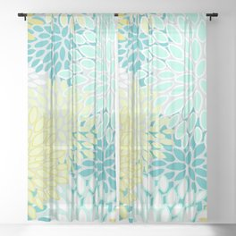 Festive Floral Prints, Teal, Turquoise and Yellow Sheer Curtain