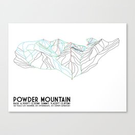 Powder Mountain, UT - Minimalist Trail Art Canvas Print
