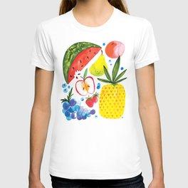 Fruit Watercolor - Pineapple, Watermelon, Strawberry T-shirt