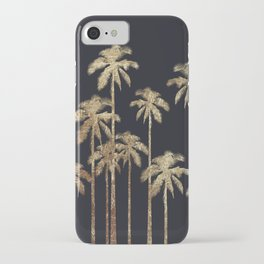 Glamorous Gold Tropical Palm Trees on Black iPhone Case