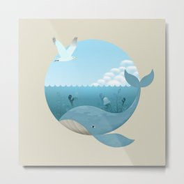 Whale & Seagull (US and THEM) Metal Print