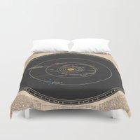 solar system Duvet Covers featuring Solar System by Le petit Archiviste
