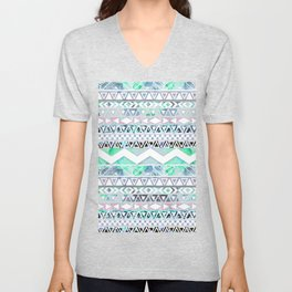 Teal Girly Floral White Abstract Aztec Pattern Unisex V-Neck
