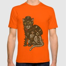 Steampunk Kitty X-LARGE Orange Mens Fitted Tee