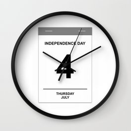 4th July Thursday Wall Clock