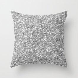 Silver Gray Glitter Throw Pillow