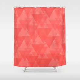 Gentle light red triangles in the intersection and overlay. Shower Curtain