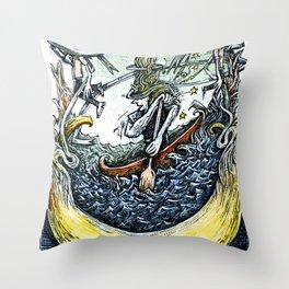 Crescent Canoeist Throw Pillow
