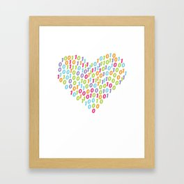 Binary Heart Colorful Framed Art Print
