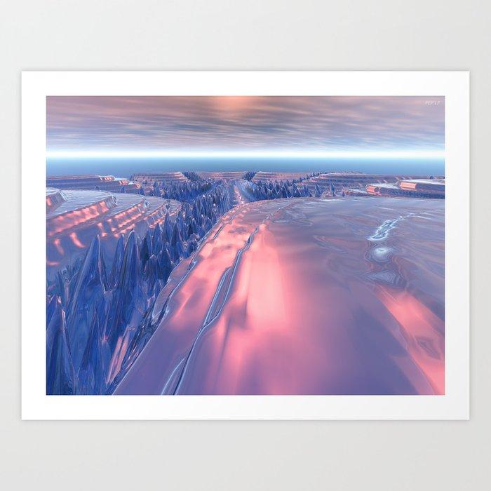 Fractal Glacier Landscape Art Print