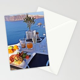 Oia, Santorini, Greece.. Breakfast with a View! Stationery Cards