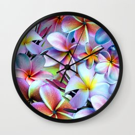 Rainbow Plumeria Wall Clock