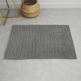 Gray faux leather texture crocodile pattern Rug