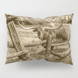 Texas Longhorn Steer by an Old Wooden Fence in Sepia Tone Pillow Sham