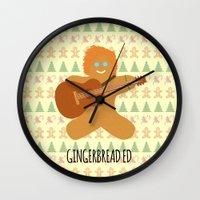 ed sheeran Wall Clocks featuring Gingerbread Ed by Laura Maria Designs