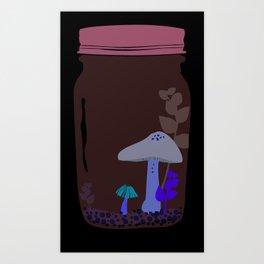 Shy little mushrooms in a terrarium Art Print
