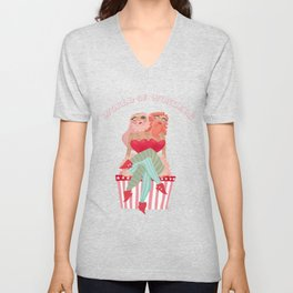 Conjoined bearded ladies. Circus Unisex V-Neck