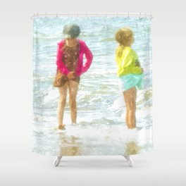 Wading In The Ocean Shower Curtain