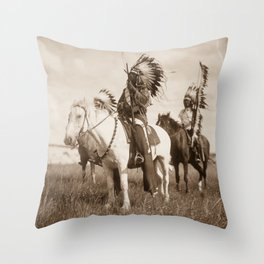 Sioux chiefs by Edward S Curtis 1905 Throw Pillow