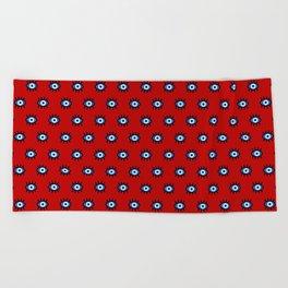 Evil Eye on Red Beach Towel