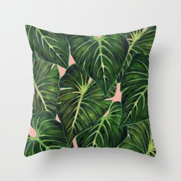 Tropical II Coral Throw Pillow
