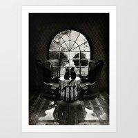 skull Art Prints featuring Room Skull B&W by Ali GULEC