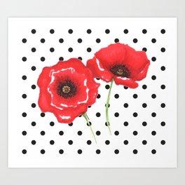 Poppies and polka dots Art Print