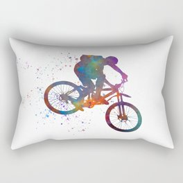 Cyclist competing in watercolor Rectangular Pillow