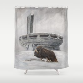 The Lone Musk Ox Shower Curtain