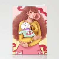 bee and puppycat Stationery Cards featuring Bee and Puppycat by MW Illustration